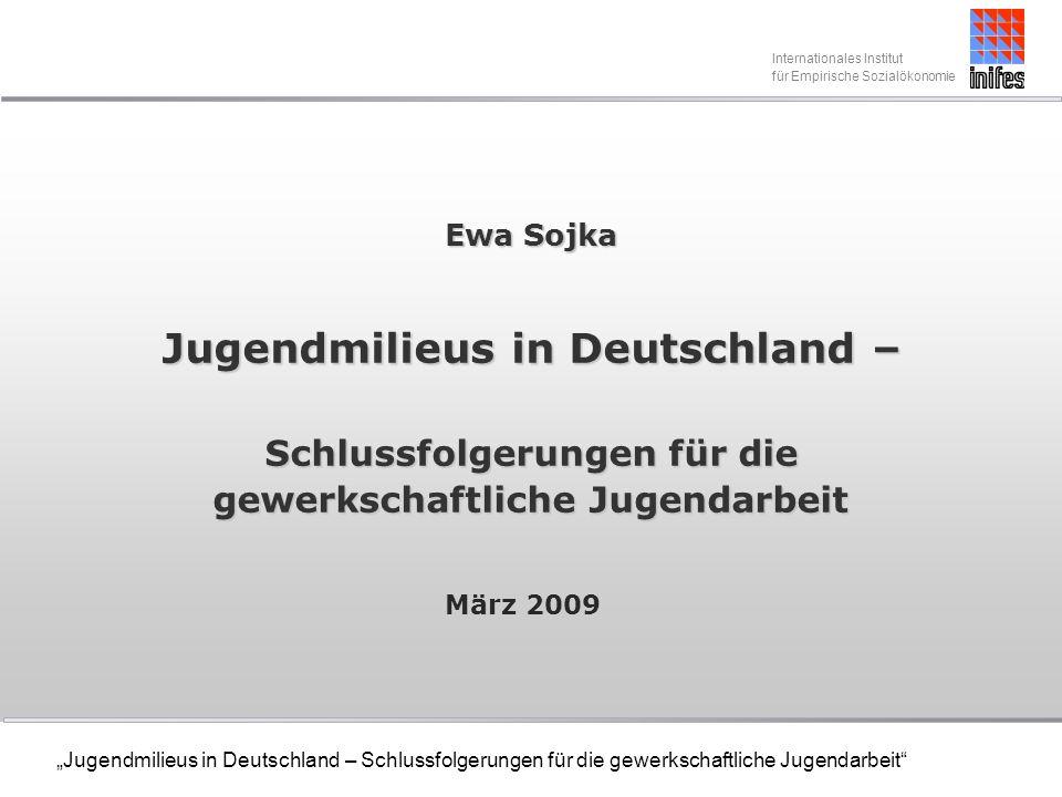 Internationales Institut für empirische Sozialökonomie Jugendmilieus in Deutschland – Schlussfolgerungen für die gewerkschaftliche Jugendarbeit Nebenjobs Der Anteil der Jugendlichen, die nebenbei in ihrer Freizeit jobben ist leicht von angestiegen.