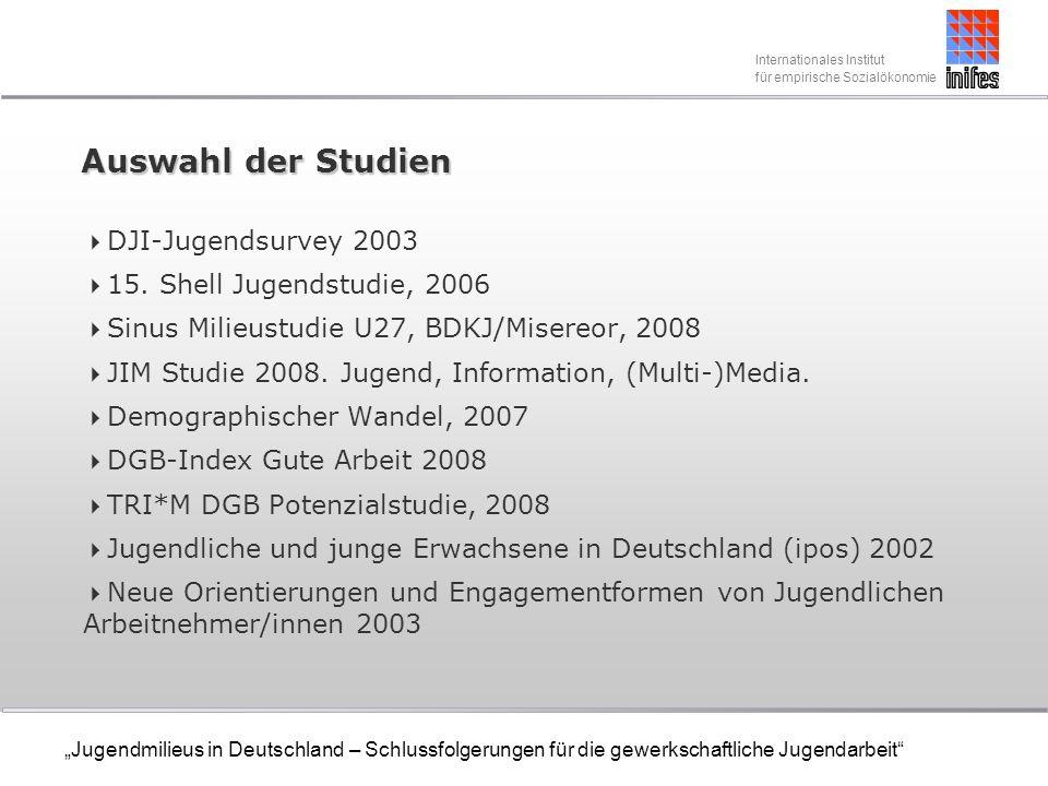 Internationales Institut für empirische Sozialökonomie Jugendmilieus in Deutschland – Schlussfolgerungen für die gewerkschaftliche Jugendarbeit DGB-Potenzialstudie Wichtige und bindungsrelevante Aspekte für junge Beschäftigte: Im Bereich Erscheinungsbild der Gewerkschaft: Dass die Gewerkschaft ehrlich und glaubwürdig ist, sich um die Probleme der Beschäftigten im Betrieb kümmert sofort zur Stelle ist sowie dass sie die Arbeitswirklichkeit der Beschäftigten kennt und ein Gefühl von Schutz und Sicherheit vermittelt.