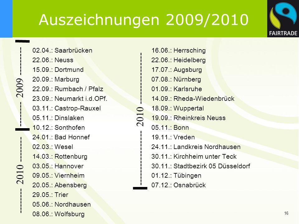 16 Auszeichnungen 2009/2010 02.04.: Saarbrücken16.06.: Herrsching 22.06.: Neuss22.06.: Heidelberg 15.09.: Dortmund17.07.: Augsburg 20.09.: Marburg 07.