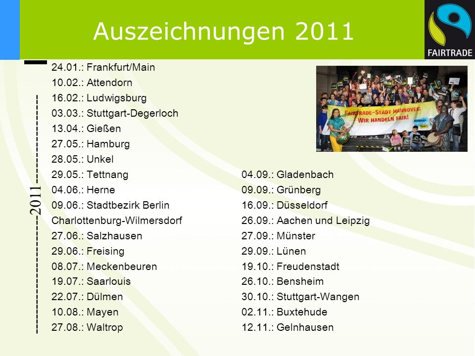 -----------------------2011----------------- 24.01.: Frankfurt/Main 10.02.: Attendorn 16.02.: Ludwigsburg 03.03.: Stuttgart-Degerloch 13.04.: Gießen 2