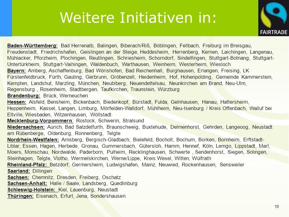 19 Weitere Initiativen in: Baden-Württemberg: Bad Herrenalb, Balingen, Biberach/Riß, Böblingen, Fellbach, Freiburg im Breisgau, Freudenstadt, Friedric