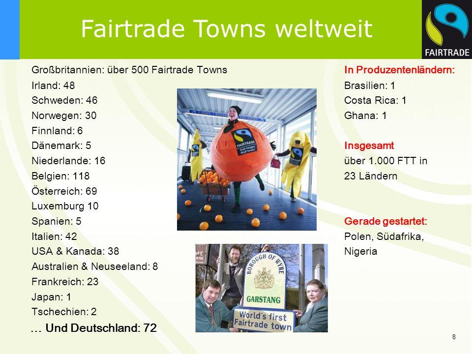 8 Fairtrade Towns weltweit Großbritannien: über 500 Fairtrade Towns In Produzentenländern: Irland: 48 Brasilien: 1 Schweden: 46in Costa Rica: 1 Norweg