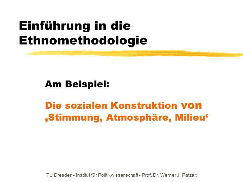 TU Dresden - Institut für Politikwissenschaft - Prof. Dr. Werner J. Patzelt Einführung in die Ethnomethodologie Am Beispiel: Die sozialen Konstruktion