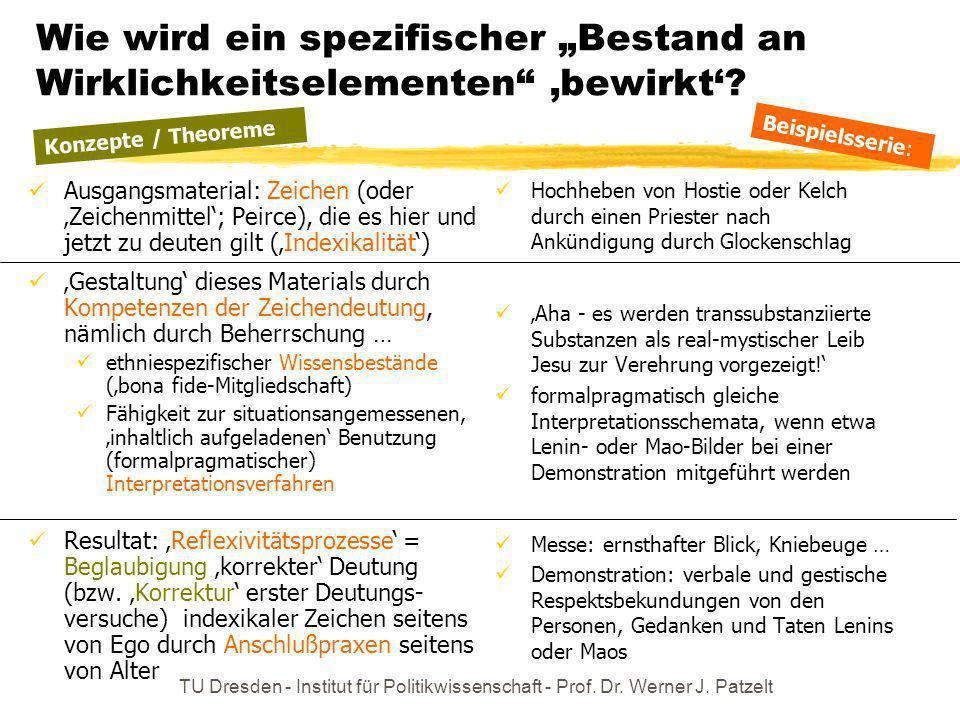 TU Dresden - Institut für Politikwissenschaft - Prof. Dr. Werner J. Patzelt Wie wird ein spezifischer Bestand an Wirklichkeitselementen bewirkt? Ausga