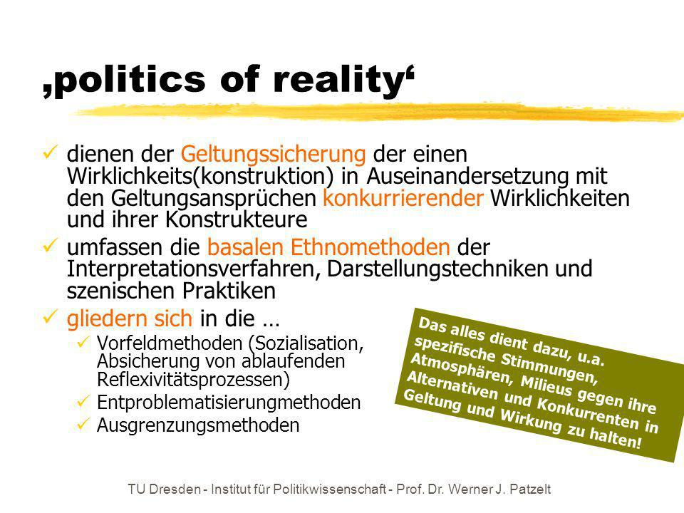 TU Dresden - Institut für Politikwissenschaft - Prof. Dr. Werner J. Patzelt politics of reality dienen der Geltungssicherung der einen Wirklichkeits(k
