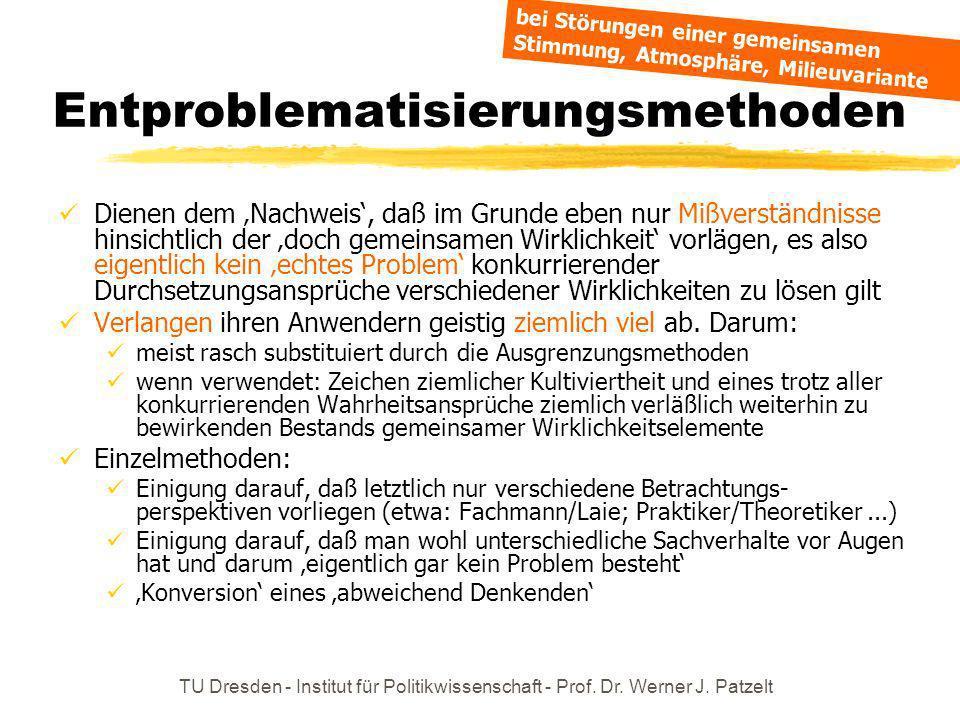 TU Dresden - Institut für Politikwissenschaft - Prof. Dr. Werner J. Patzelt Entproblematisierungsmethoden Dienen dem Nachweis, daß im Grunde eben nur
