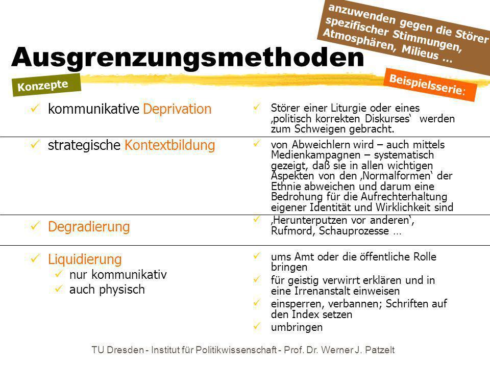 TU Dresden - Institut für Politikwissenschaft - Prof. Dr. Werner J. Patzelt Ausgrenzungsmethoden kommunikative Deprivation strategische Kontextbildung