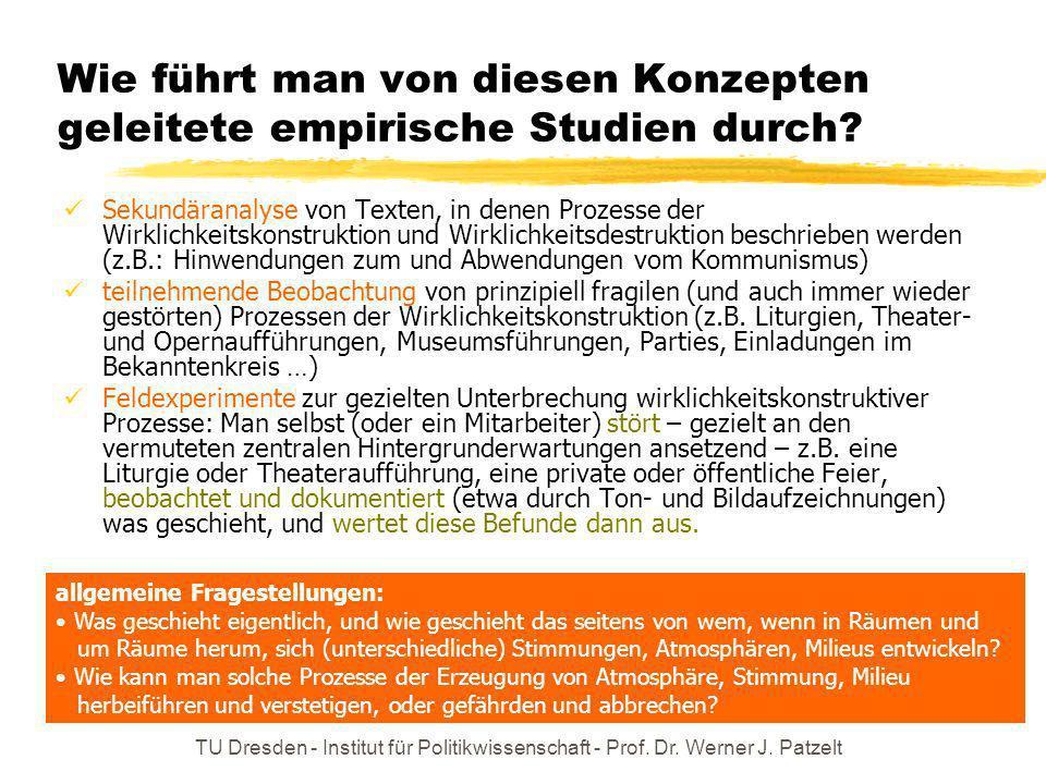 TU Dresden - Institut für Politikwissenschaft - Prof. Dr. Werner J. Patzelt Wie führt man von diesen Konzepten geleitete empirische Studien durch? Sek