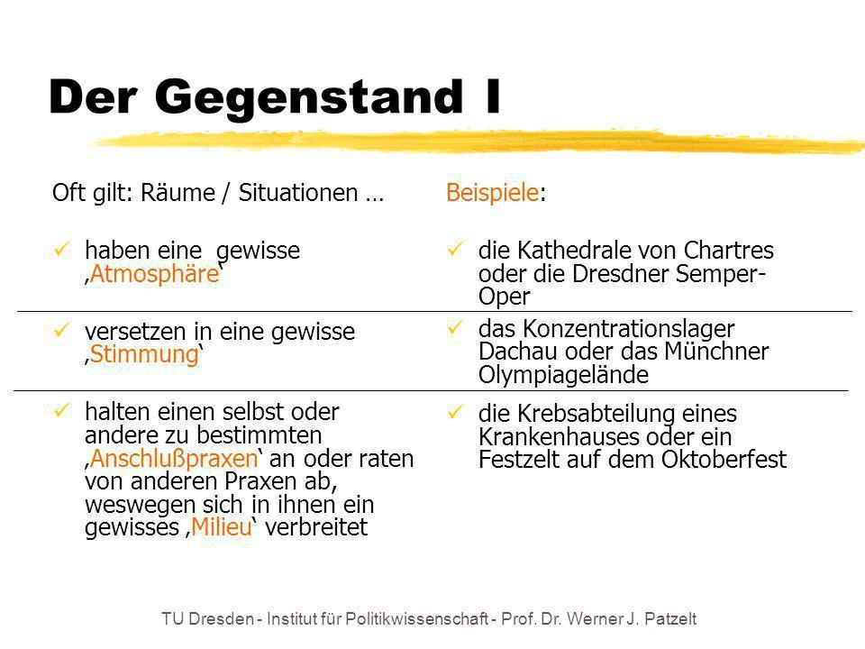 TU Dresden - Institut für Politikwissenschaft - Prof. Dr. Werner J. Patzelt Der Gegenstand I Oft gilt: Räume / Situationen … haben eine gewisseAtmosph