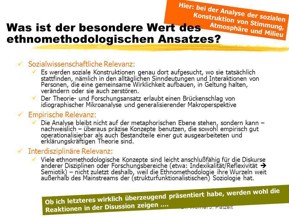 TU Dresden - Institut für Politikwissenschaft - Prof. Dr. Werner J. Patzelt Sozialwissenschaftliche Relevanz: Es werden soziale Konstruktionen genau d