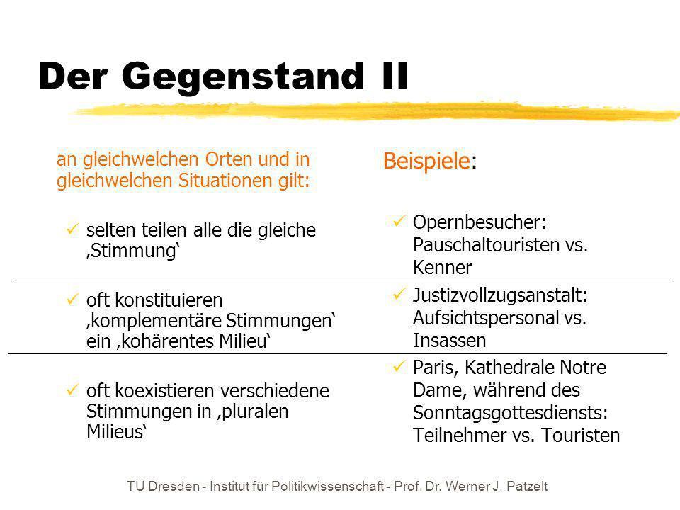 TU Dresden - Institut für Politikwissenschaft - Prof. Dr. Werner J. Patzelt Der Gegenstand II an gleichwelchen Orten und in gleichwelchen Situationen