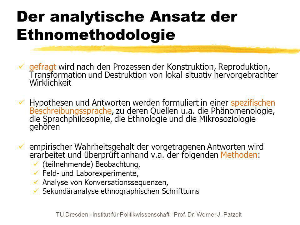 TU Dresden - Institut für Politikwissenschaft - Prof. Dr. Werner J. Patzelt Der analytische Ansatz der Ethnomethodologie gefragt wird nach den Prozess