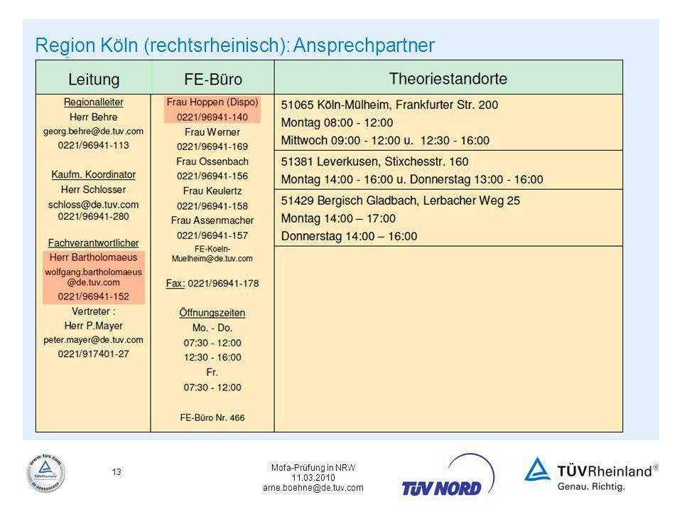 Mofa-Prüfung in NRW 11.03.2010 arne.boehne@de.tuv.com 13 Region Köln (rechtsrheinisch): Ansprechpartner