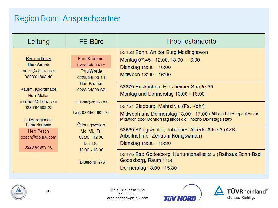 Mofa-Prüfung in NRW 11.03.2010 arne.boehne@de.tuv.com 16 Region Bonn: Ansprechpartner