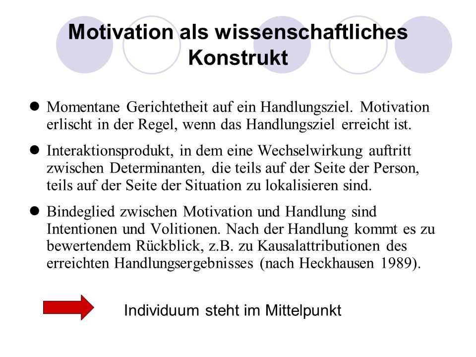 Motivation als wissenschaftliches Konstrukt Momentane Gerichtetheit auf ein Handlungsziel. Motivation erlischt in der Regel, wenn das Handlungsziel er