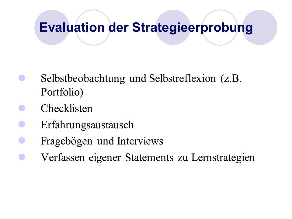 Evaluation der Strategieerprobung Selbstbeobachtung und Selbstreflexion (z.B. Portfolio) Checklisten Erfahrungsaustausch Fragebögen und Interviews Ver