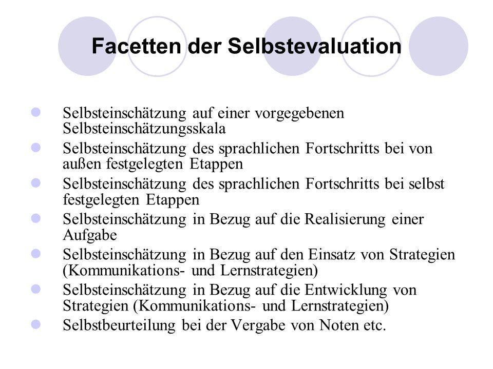Facetten der Selbstevaluation Selbsteinschätzung auf einer vorgegebenen Selbsteinschätzungsskala Selbsteinschätzung des sprachlichen Fortschritts bei