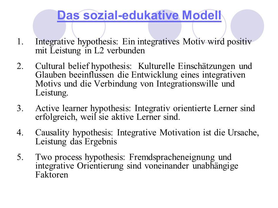 Das sozial-edukative Modell 1.Integrative hypothesis: Ein integratives Motiv wird positiv mit Leistung in L2 verbunden 2.Cultural belief hypothesis: K
