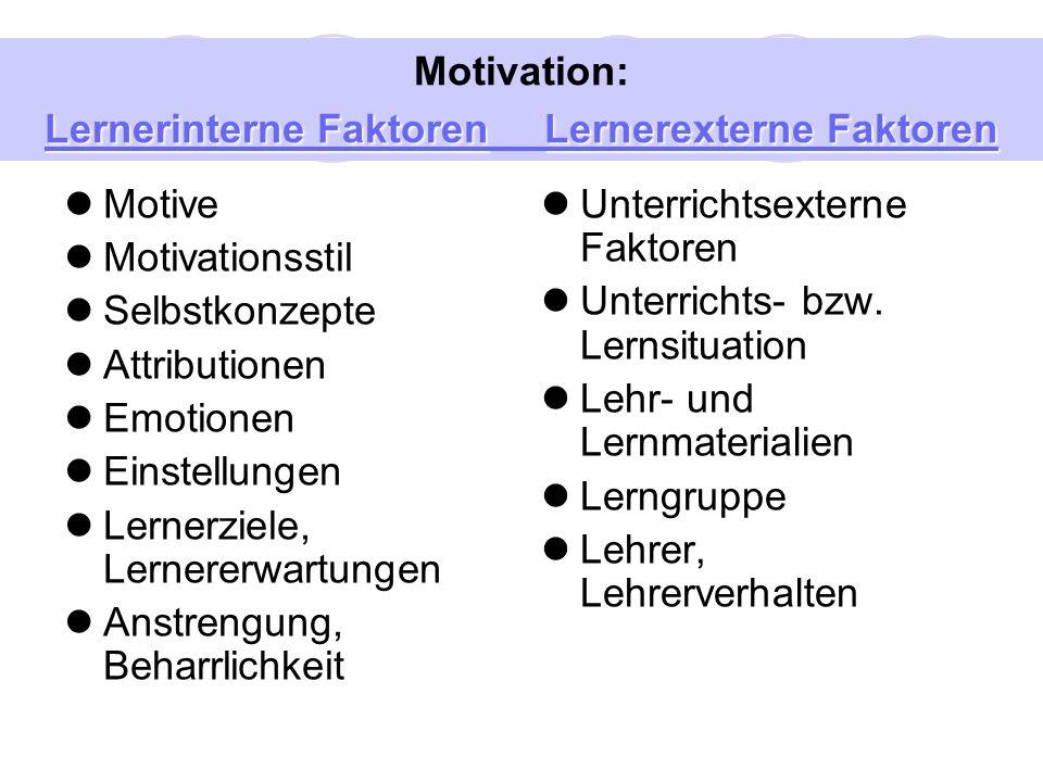 Motive: Ein wichtiger Faktor für das Fremdsprachenlernen Motive: relativ konstante Wertedispositionen im Individuum, die Handlungen in Gang bringen, sie aufrechterhalten, oder sie beenden.
