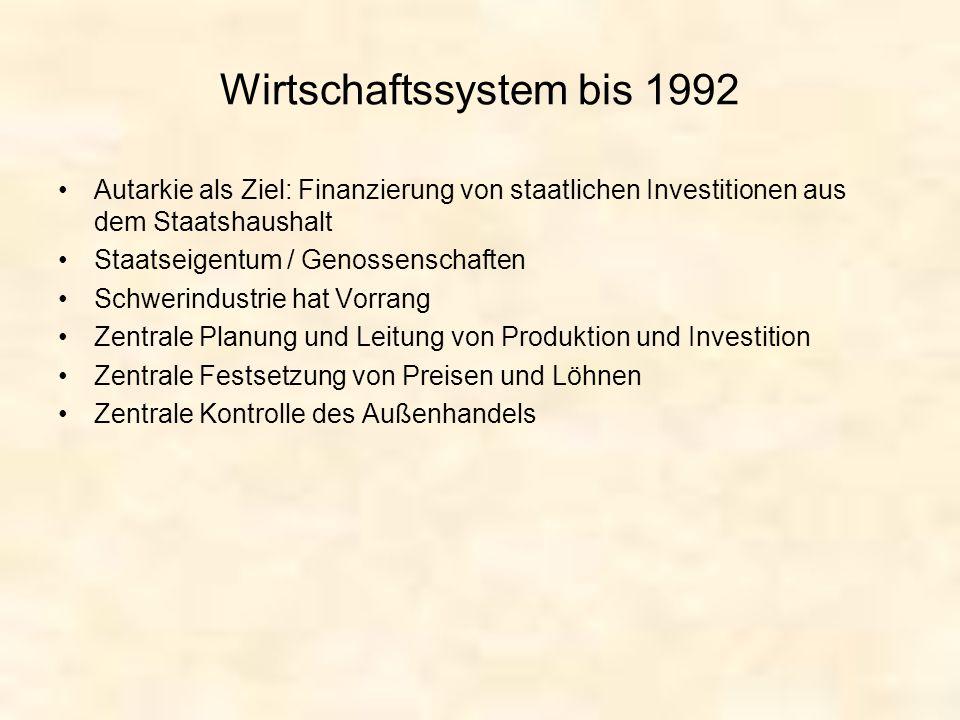 Wirtschaftssystem bis 1992 Autarkie als Ziel: Finanzierung von staatlichen Investitionen aus dem Staatshaushalt Staatseigentum / Genossenschaften Schw