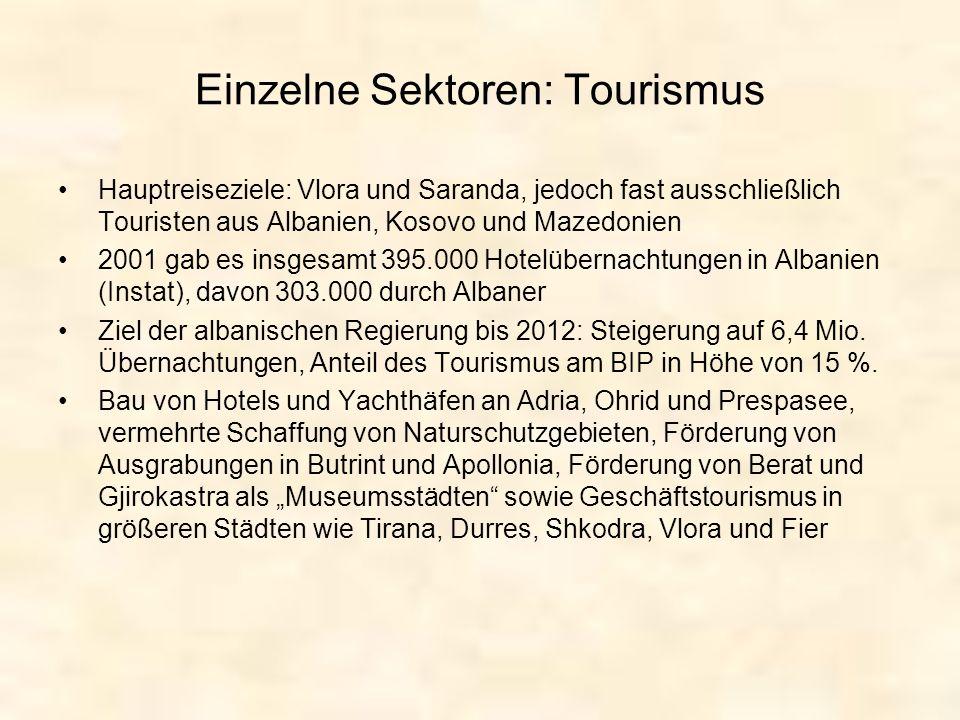 Einzelne Sektoren: Tourismus Hauptreiseziele: Vlora und Saranda, jedoch fast ausschließlich Touristen aus Albanien, Kosovo und Mazedonien 2001 gab es