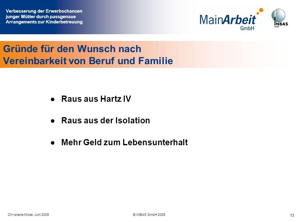 Verbesserung der Erwerbschancen junger Mütter durch passgenaue Arrangements zur Kinderbetreuung Juni 2009© MainArbeit GmbH & INBAS GmbH 2009 13 Raus a