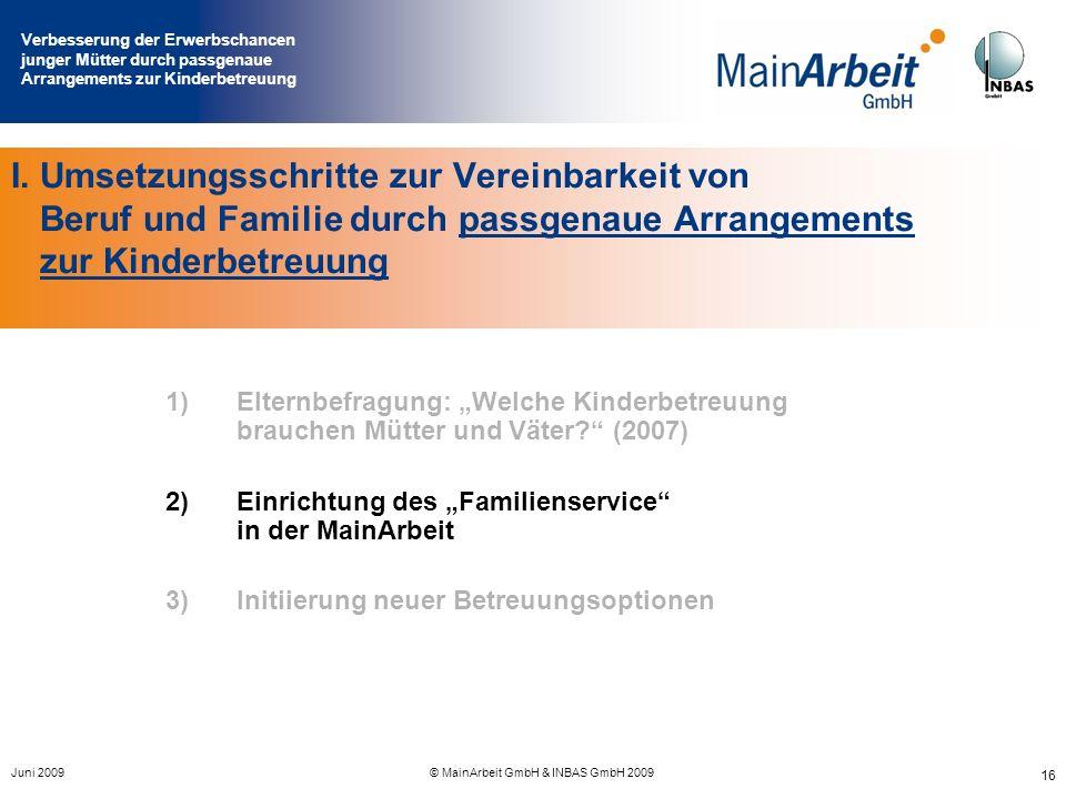 Verbesserung der Erwerbschancen junger Mütter durch passgenaue Arrangements zur Kinderbetreuung Juni 2009© MainArbeit GmbH & INBAS GmbH 2009 16 I. Ums