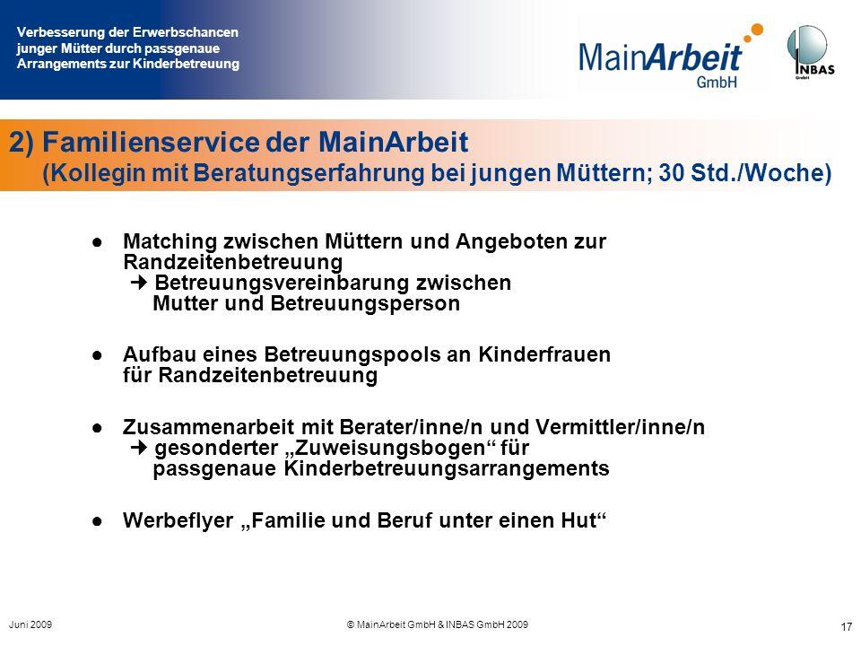 Verbesserung der Erwerbschancen junger Mütter durch passgenaue Arrangements zur Kinderbetreuung Juni 2009© MainArbeit GmbH & INBAS GmbH 2009 17 2) Fam