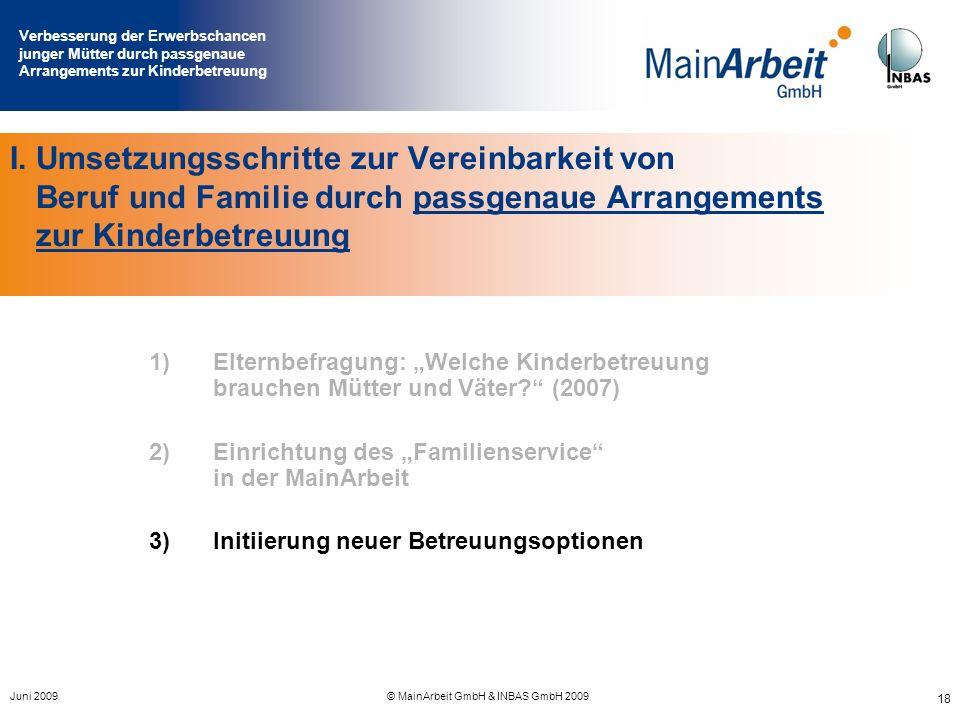 Verbesserung der Erwerbschancen junger Mütter durch passgenaue Arrangements zur Kinderbetreuung Juni 2009© MainArbeit GmbH & INBAS GmbH 2009 18 I. Ums