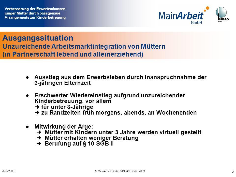 Verbesserung der Erwerbschancen junger Mütter durch passgenaue Arrangements zur Kinderbetreuung Juni 2009© MainArbeit GmbH & INBAS GmbH 2009 2 Ausgang