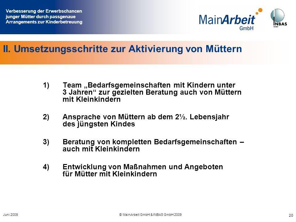 Verbesserung der Erwerbschancen junger Mütter durch passgenaue Arrangements zur Kinderbetreuung Juni 2009© MainArbeit GmbH & INBAS GmbH 2009 20 II. Um