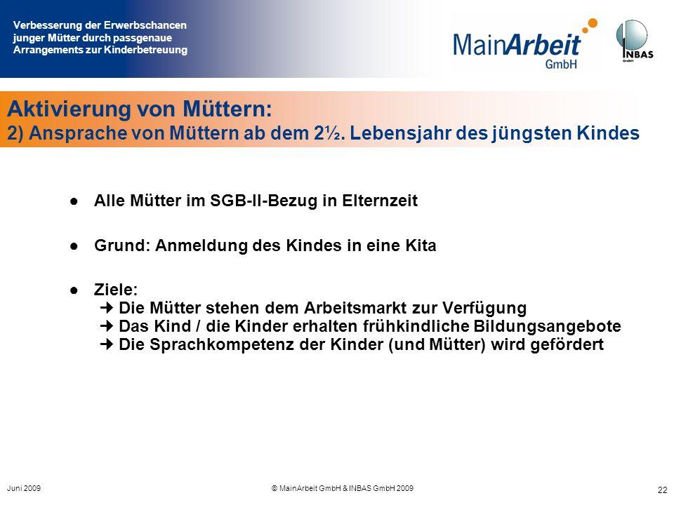Verbesserung der Erwerbschancen junger Mütter durch passgenaue Arrangements zur Kinderbetreuung Juni 2009© MainArbeit GmbH & INBAS GmbH 2009 22 Aktivi