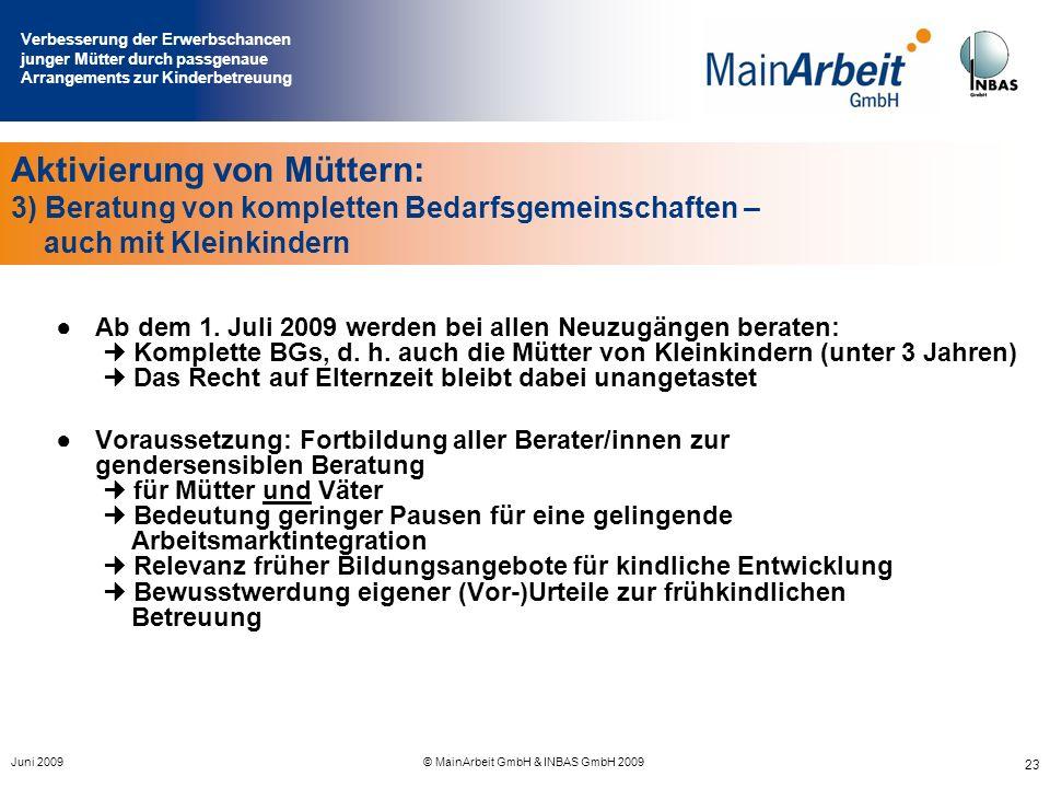 Verbesserung der Erwerbschancen junger Mütter durch passgenaue Arrangements zur Kinderbetreuung Juni 2009© MainArbeit GmbH & INBAS GmbH 2009 23 Aktivi