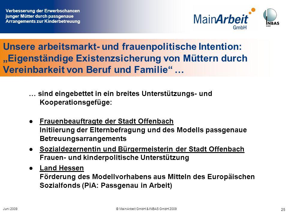 Verbesserung der Erwerbschancen junger Mütter durch passgenaue Arrangements zur Kinderbetreuung Juni 2009© MainArbeit GmbH & INBAS GmbH 2009 25 Unsere