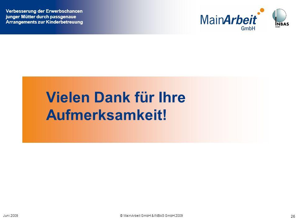 Verbesserung der Erwerbschancen junger Mütter durch passgenaue Arrangements zur Kinderbetreuung Juni 2009© MainArbeit GmbH & INBAS GmbH 2009 26 Vielen