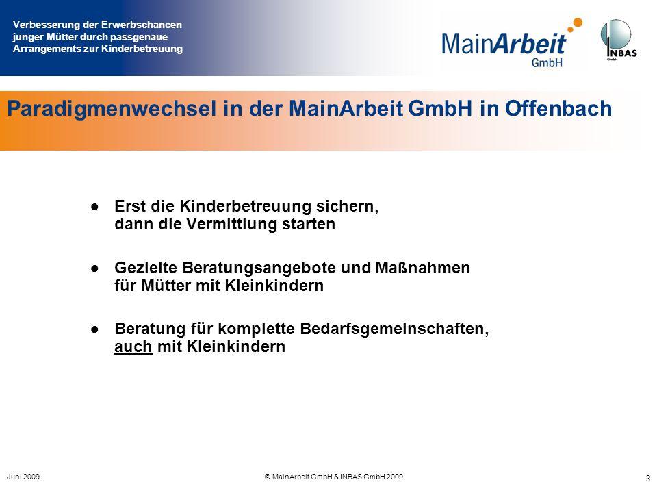 Verbesserung der Erwerbschancen junger Mütter durch passgenaue Arrangements zur Kinderbetreuung Juni 2009© MainArbeit GmbH & INBAS GmbH 2009 3 Paradig