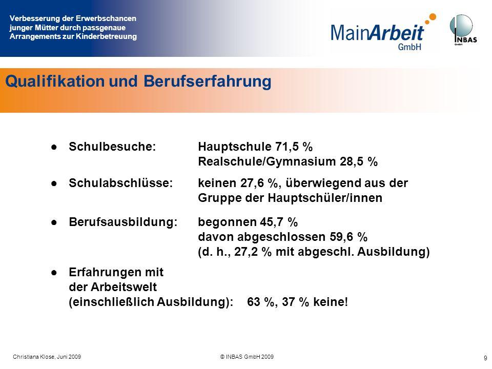 Verbesserung der Erwerbschancen junger Mütter durch passgenaue Arrangements zur Kinderbetreuung Juni 2009© MainArbeit GmbH & INBAS GmbH 2009 9 Qualifi