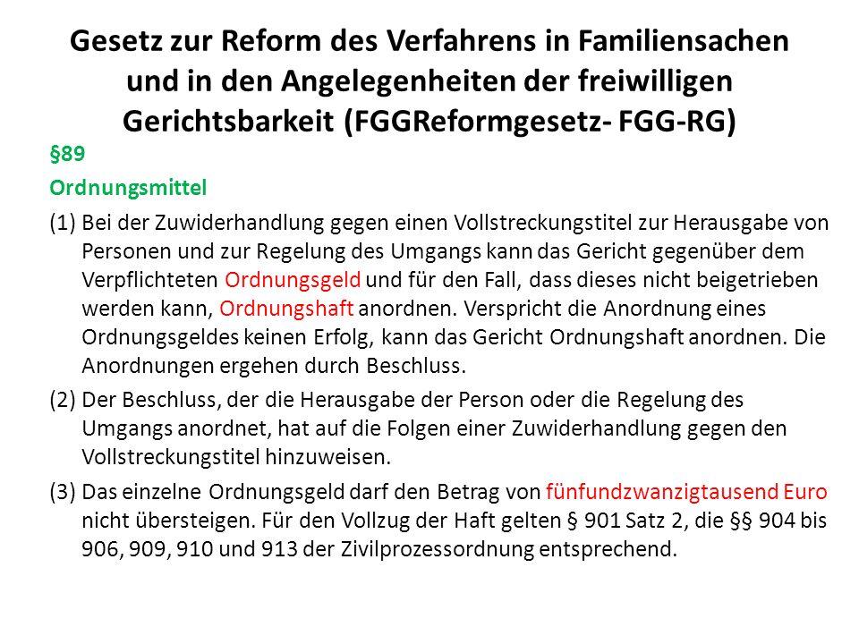 Gesetz zur Reform des Verfahrens in Familiensachen und in den Angelegenheiten der freiwilligen Gerichtsbarkeit (FGGReformgesetz- FGG-RG) §89 Ordnungsm