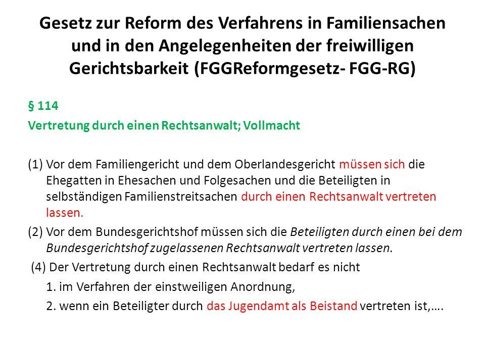 Gesetz zur Reform des Verfahrens in Familiensachen und in den Angelegenheiten der freiwilligen Gerichtsbarkeit (FGGReformgesetz- FGG-RG) § 114 Vertret