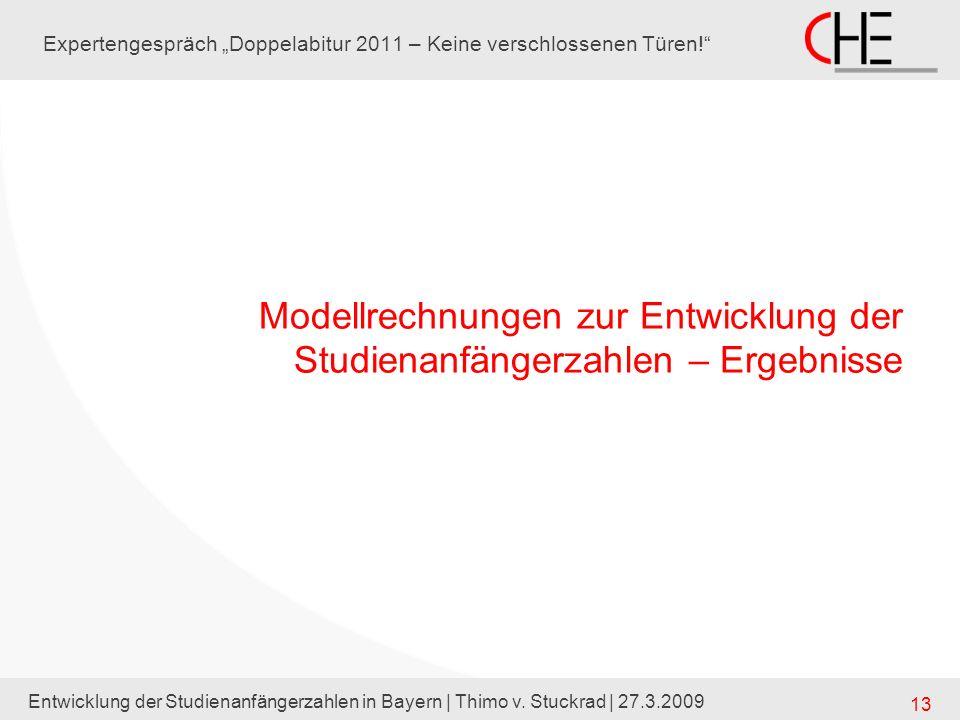 Entwicklung der Studienanfängerzahlen in Bayern | Thimo v. Stuckrad | 27.3.2009 13 Expertengespräch Doppelabitur 2011 – Keine verschlossenen Türen! Mo