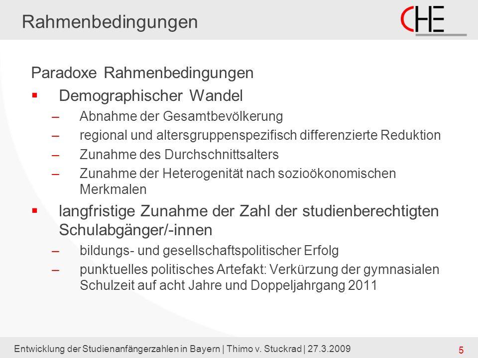 Entwicklung der Studienanfängerzahlen in Bayern | Thimo v. Stuckrad | 27.3.2009 5 Rahmenbedingungen Paradoxe Rahmenbedingungen Demographischer Wandel