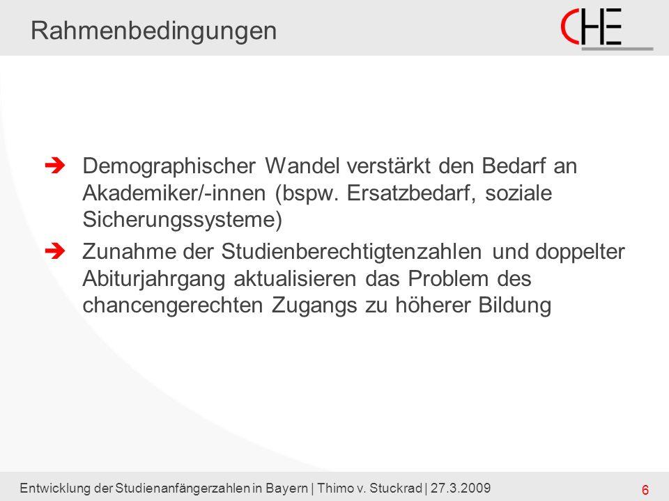 Entwicklung der Studienanfängerzahlen in Bayern | Thimo v. Stuckrad | 27.3.2009 6 Rahmenbedingungen Demographischer Wandel verstärkt den Bedarf an Aka
