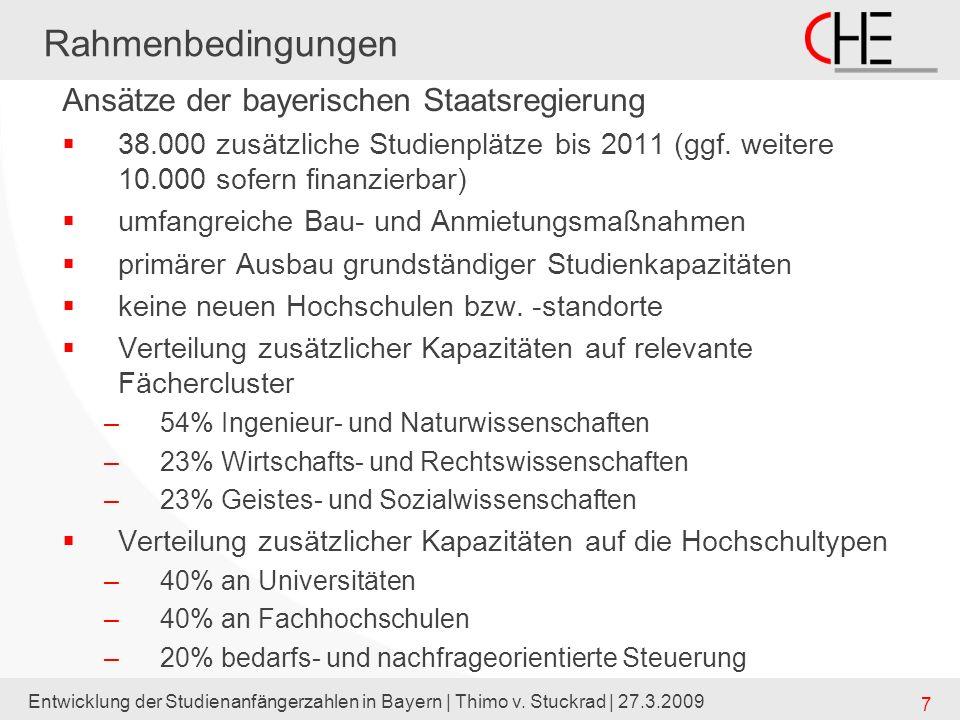 Entwicklung der Studienanfängerzahlen in Bayern | Thimo v. Stuckrad | 27.3.2009 7 Rahmenbedingungen Ansätze der bayerischen Staatsregierung 38.000 zus