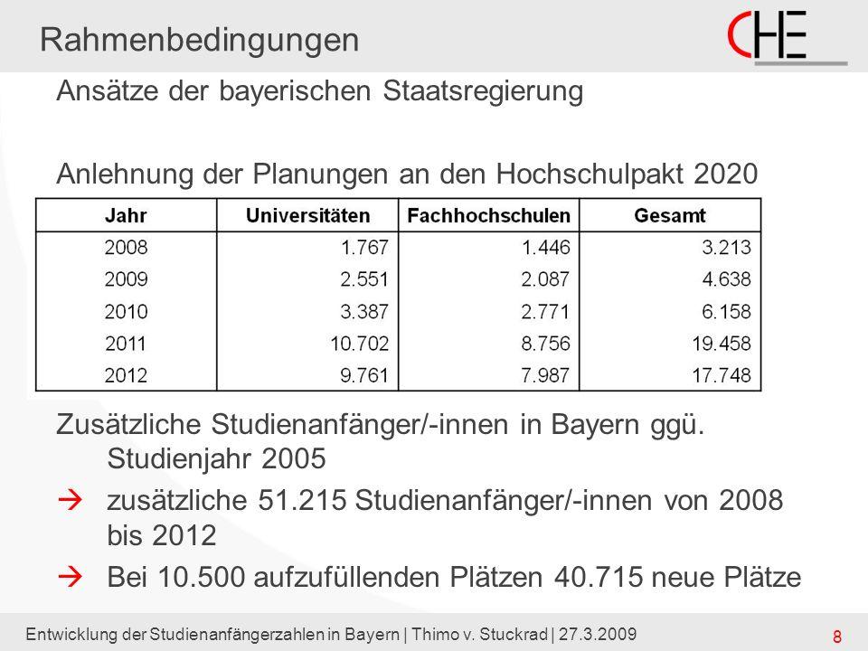 Entwicklung der Studienanfängerzahlen in Bayern | Thimo v. Stuckrad | 27.3.2009 8 Rahmenbedingungen Ansätze der bayerischen Staatsregierung Anlehnung