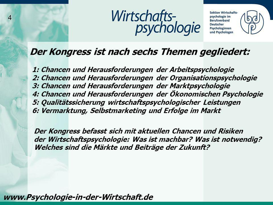 Vor allem die Mitglieder der Sektion Wirtschaftspsychologie im BDP, sowie Diplompsychologinnen und Diplompsychologen aus dem deutschsprachigen Raum sollen Gelegenheit bekommen, sich aktiv mit eigenen Kongressbeiträgen an der Programm- gestaltung zu beteiligen.