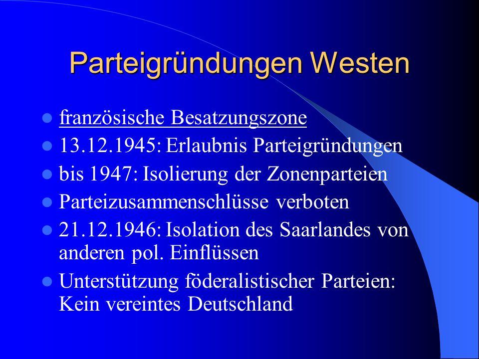 Parteigründungen Westen französische Besatzungszone 13.12.1945: Erlaubnis Parteigründungen bis 1947: Isolierung der Zonenparteien Parteizusammenschlüs