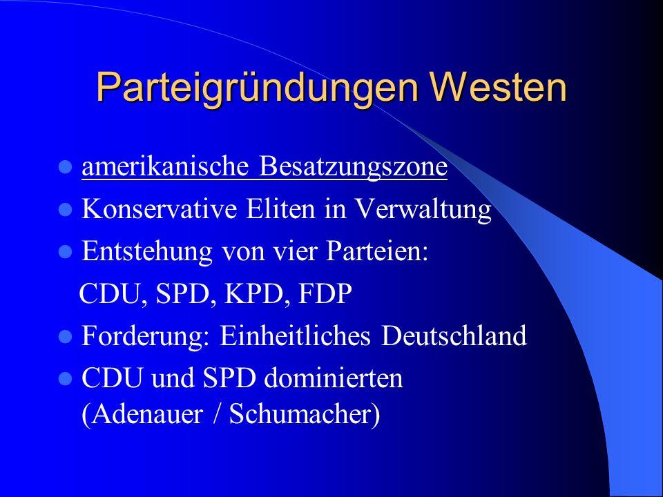Parteigründungen Westen amerikanische Besatzungszone Konservative Eliten in Verwaltung Entstehung von vier Parteien: CDU, SPD, KPD, FDP Forderung: Ein