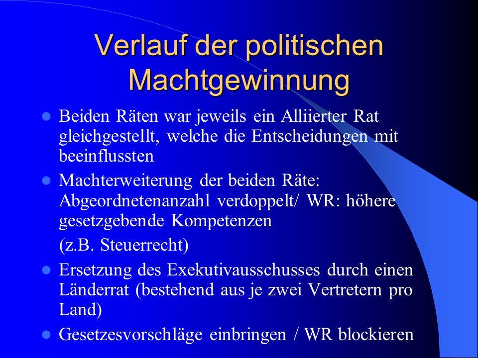 Verlauf der politischen Machtgewinnung Beiden Räten war jeweils ein Alliierter Rat gleichgestellt, welche die Entscheidungen mit beeinflussten Machter