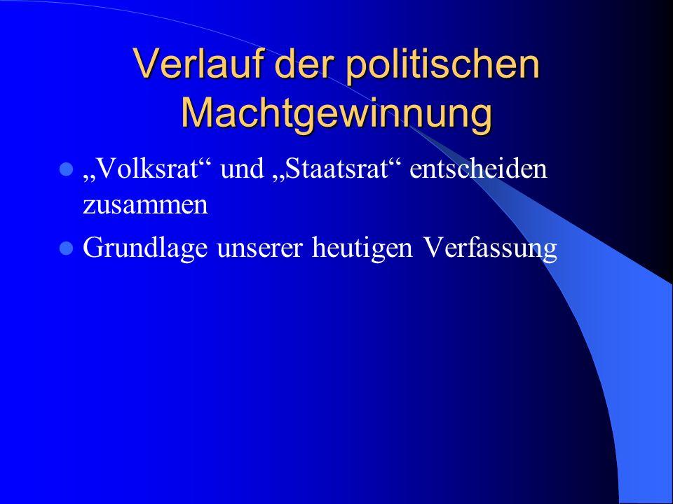 Verlauf der politischen Machtgewinnung Volksrat und Staatsrat entscheiden zusammen Grundlage unserer heutigen Verfassung