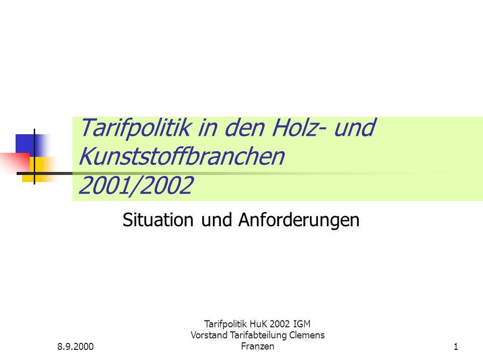 8.9.2000 Tarifpolitik HuK 2002 IGM Vorstand Tarifabteilung Clemens Franzen2 Lage der Branchen Möbelindustrie: Abhängig von der Binnenkaufkraft und der Macht des Handels Holzbearbeitende Industrie: Unterbietungswettlauf.